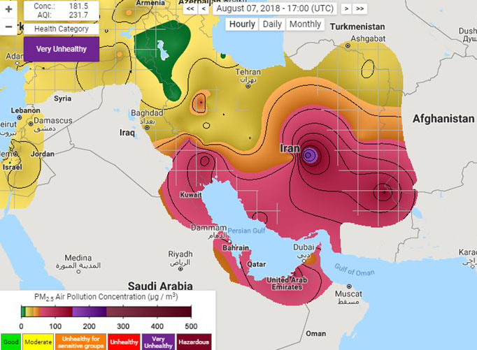 Unhealthy Air Pollution in the Middle East in Summer ...