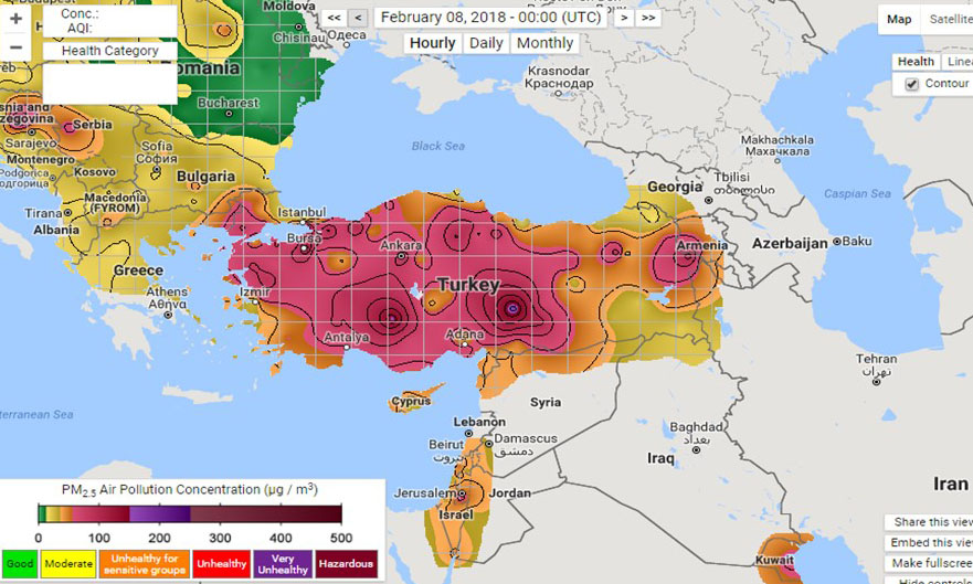 Seasonally Persistent and Unhealthy Air Pollution in Turkey