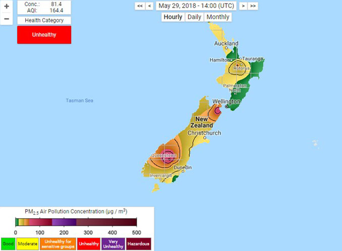 Air Pollution in New Zealand in May or Late Autumn