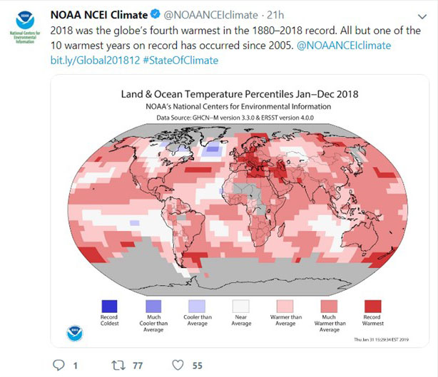 2018 Was the Hottest Year in Europe and the Middle East on Record